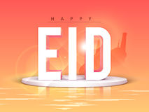 Glossy 3D Text for Eid celebration. Creative 3D Text Eid on Mosque silhouetted glossy abstract background, Beautiful Greeting Card design for Muslim Community vector illustration