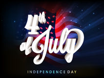 Glossy 3D text for 4th of July celebration. Creative glossy 3D text 4th of July on waving American Flag background for Independence Day celebration concept Royalty Free Stock Photo