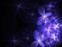 Glossy dark fractal flowers Royalty Free Stock Image