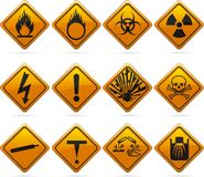 Glossy Diamond Hazard Signs Royalty Free Stock Photography