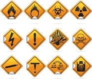 Glossy Diamond Hazard Stickers Stock Images