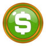 Glossy Dollar icon button Royalty Free Stock Photography