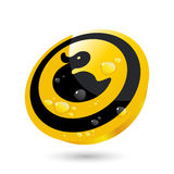 Glossy duck button Royalty Free Stock Photography