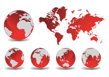 Glossy earth globes with world map Stock Photos