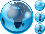 Glossy earth internet icon Stock Photos