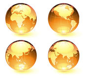 Glossy Earth Map Globes Stock Image