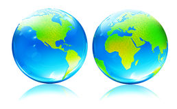 Glossy Earth Map Globes Stock Photography