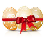 Glossy easter eggs with red bow Stock Image