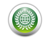 Glossy Eco-Friendly Earth Icon Stock Images