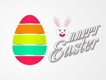 Glossy egg with bunny for Happy Easter celebration. Royalty Free Stock Photography