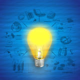Glossy electric bulb for idea concept. Stock Photography