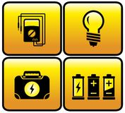 Glossy electrical button set. For electricity icons - glossy electrical button set Stock Image