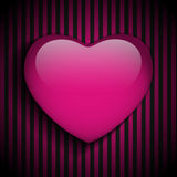 Glossy Emo Heart. Pink and Black Stripes Royalty Free Stock Images