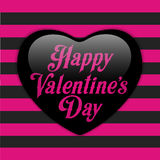 Glossy Emo Heart. Pink and Black Stripes Stock Images
