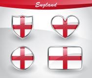 Glossy England flag icon set Stock Image