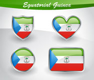 Glossy Equatorial Guinea flag icon set Royalty Free Stock Images