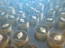 Glossy Ethereum in blurred closeup. Crypto-currency finance and banking as 3D Illustration concept. Mining,  monetary,  money,  network,  payment Royalty Free Stock Photo