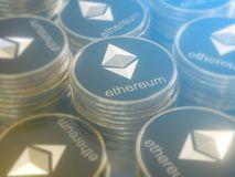 Glossy Ethereum in blurred closeup. Crypto-currency finance and banking as 3D Illustration concept. Mining,  monetary,  money,  network,  payment Royalty Free Stock Photos