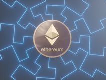 Glossy Ethereum in blurred closeup. Crypto-currency finance and banking as 3D Illustration concept. Mining,  monetary,  money,  network,  payment Stock Photo