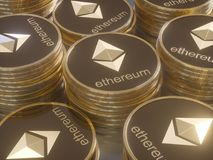 Glossy Ethereum in blurred closeup. Crypto-currency finance and banking as 3D Illustration concept. Mining,  monetary,  money,  network,  payment Royalty Free Stock Photography