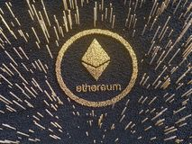 Glossy Ethereum in blurred closeup. Crypto-currency finance and banking as 3D Illustration concept. Mining,  monetary,  money,  network,  payment Stock Images