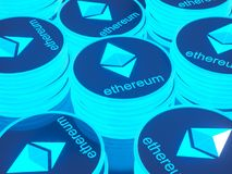 Glossy Ethereum in blurred closeup. Crypto-currency finance and banking as 3D Illustration concept. Mining,  monetary,  money,  network,  payment Stock Photography
