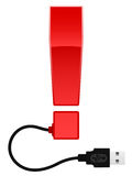 Glossy exclamation mark with USB cable. Red glossy exclamation mark with USB cable royalty free illustration