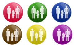 Glossy Family Button Stock Image