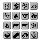 Glossy Farming Crop Icons. A selection of crops, cattle and goods that require farming. In a set of sixteen icons. Fully scalable illustration stock illustration