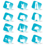 Glossy Fashion icon set. A vector illustration of Glossy Fashion icon set Stock Photo