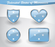 Glossy Federated States of Micronesia flag icon set Royalty Free Stock Photography
