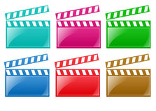 Glossy Film Rails. Isolated white background film rail web 2.0 buttons glow glossy label Stock Photos