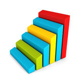 Glossy finance bar chart diagram of business achivement. 3d render illustration Stock Image