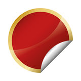 Glossy finish red circle with golden frame blank emblem icon ima. Ge illustration design Royalty Free Stock Photography