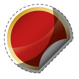 Glossy finish red circle with golden frame blank emblem icon ima. Ge illustration design Stock Images