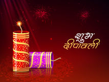 Glossy Firecrackers for Happy Diwali celebration. Stock Images
