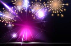Glossy Fireworks Background Vector Illustration. EPS10 Stock Photos