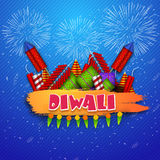 Glossy fireworks for Happy Diwali celebration. Indian Festival of Lights, Happy Diwali celebration with colourful glossy firecrackers on blue fireworks Royalty Free Stock Image