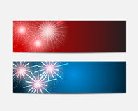 Glossy Fireworks Website Header and Banner Set Stock Photos