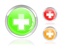 Glossy first aid cross icon. Green red orange glossy first aid cross icon button isolated on white background Royalty Free Stock Photo
