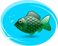 Glossy fish. Vector green glossy fish symbol Royalty Free Stock Photo