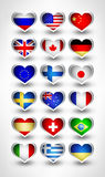 Glossy flag hearts Stock Photos