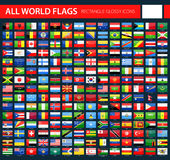 Glossy Flag Icons on Dark Background - All World Vector. Illustration Stock Photo