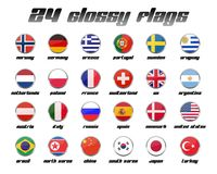 Glossy Flag Set 1. A set with 24 glossy flags from countries all over the world Stock Image