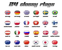 Glossy Flag Set 2. A set with 24 glossy flags from countries all over the world Royalty Free Stock Photo