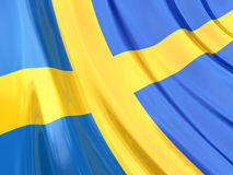 Glossy Flag of Sweden Stock Images
