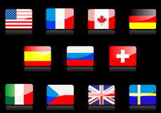 Glossy flags Stock Images