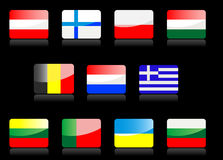 Glossy flags royalty free stock images