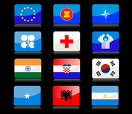 Glossy flags stock photos