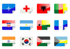 Glossy flags royalty free stock photography